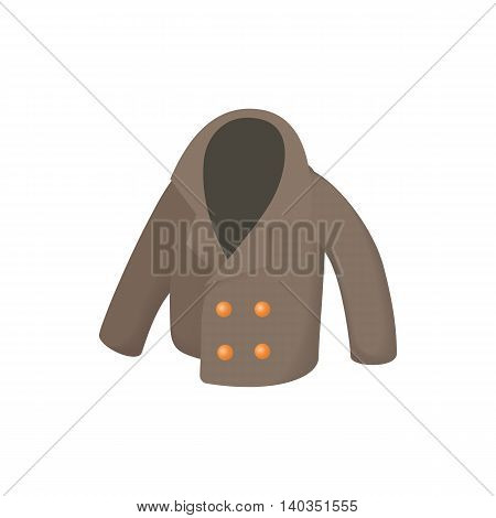 Men jacket icon in cartoon style isolated on white background. Clothing symbol
