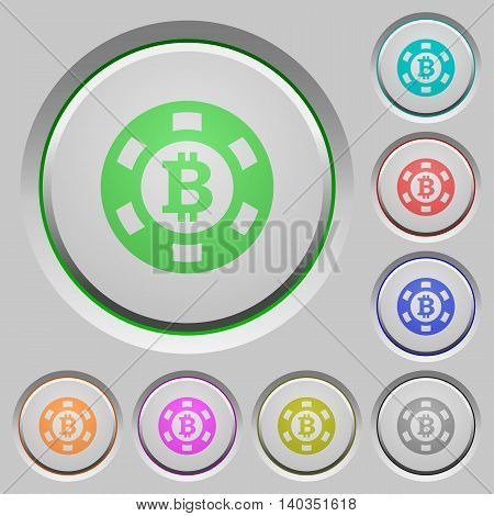 Set of color Bitcoin casino chip sunk push buttons.