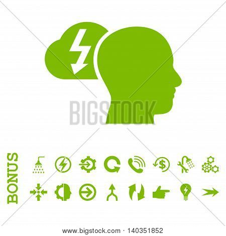 Brainstorming vector icon. Image style is a flat pictogram symbol, eco green color, white background.