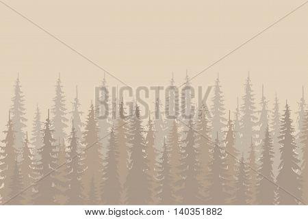 Beige outlines fir forest on light beige, design elements, vector illustration