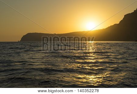 Sunset over the Fiolent cape in Black Sea