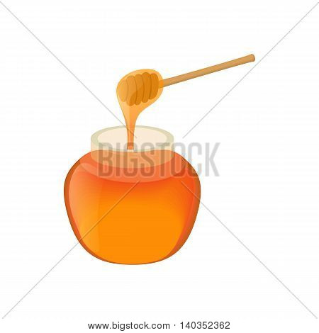Jar of honey icon in cartoon style isolated on white background. Food symbol