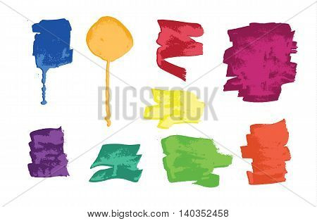 Set of colorful grunge brush strokes and splashes. Vector