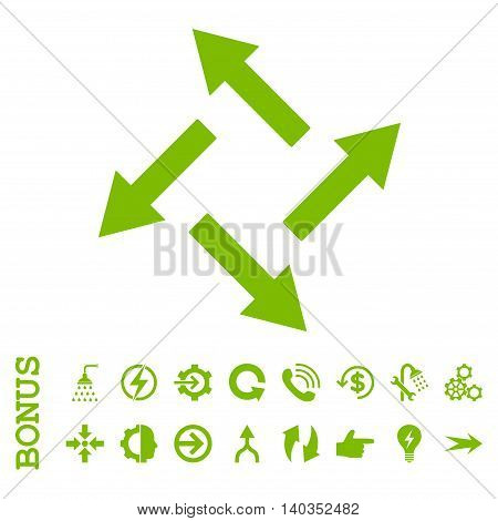 Centrifugal Arrows vector icon. Image style is a flat pictogram symbol, eco green color, white background.