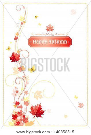 Autumn background with red, orange maple leafs, yellow butterflies, abstract wave lines, swirls and copy space for text. Seasonal vector illustration.