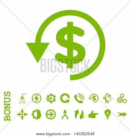 Chargeback vector icon. Image style is a flat pictogram symbol, eco green color, white background.