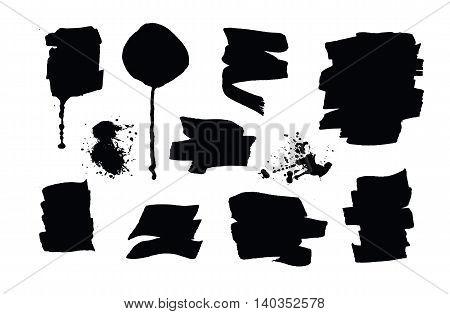 Set of black grunge brush strokes and splashes. Vector