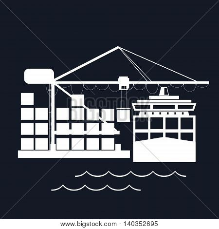 Cargo Container Ship at the Dock Isolated on Black Background, Unloading Containers from a Cargo Ship in a Seaport with Cargo Crane ,International Freight Transportation ,Vector Illustration