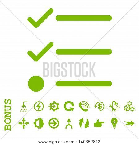 Checklist vector icon. Image style is a flat iconic symbol, eco green color, white background.