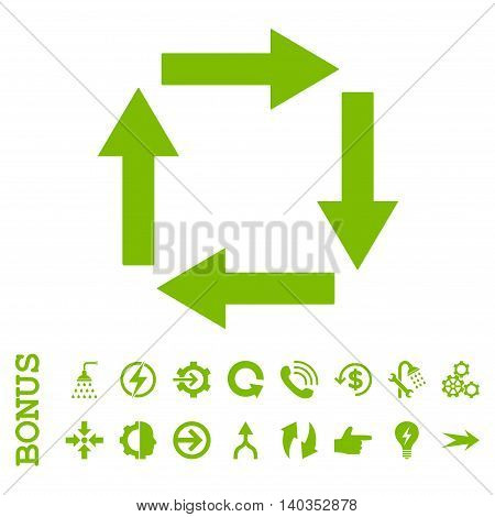 Circulation Arrows vector icon. Image style is a flat pictogram symbol, eco green color, white background.