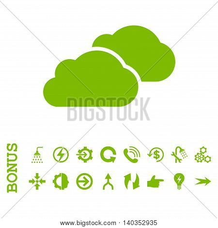 Clouds vector icon. Image style is a flat iconic symbol, eco green color, white background.