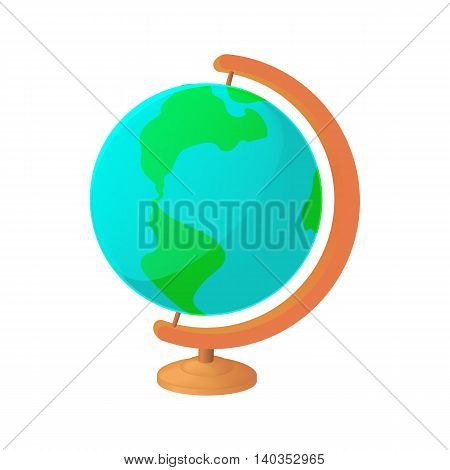 Globe icon in cartoon style isolated on white background. Geography symbol