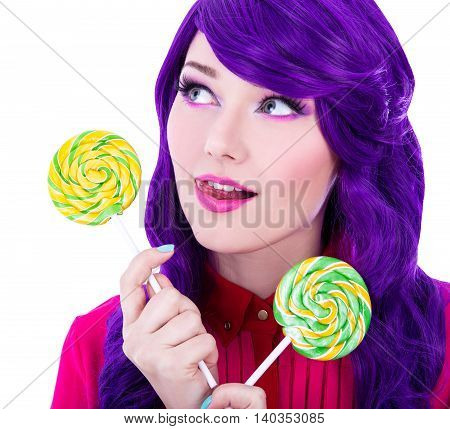 Close Up Portrait Of Dreaming Woman With Purple Hair And Colorful Lollipops