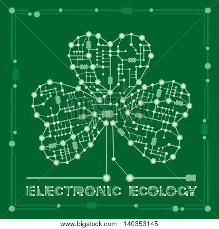 banner from abstract drawing in form shamrock clover with elements computer and motherboard for holiday st patrick's day