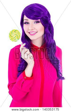 Beautiful Woman With Purple Hair Wig Holding Colorful Lollipop Isolated On White