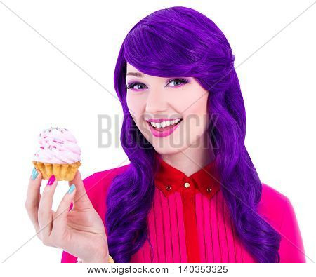 Happy Woman With Purple Hair Holding Cupcake With Pink Cream Isolated On White