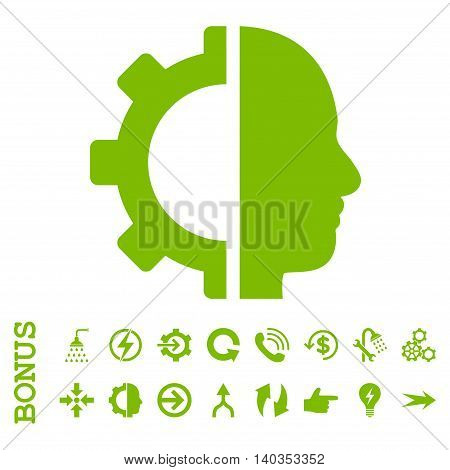 Cyborg Gear vector icon. Image style is a flat iconic symbol, eco green color, white background.