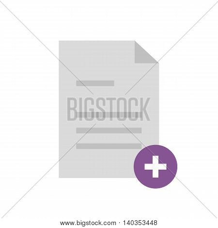 Flat icon document with plus. Add document. New document. Vector illustration.