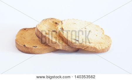 Sweet bread rusks isolated on white background