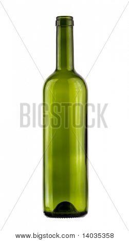 leere Weinflasche auf weißem Hintergrund