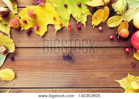 nature, season, advertisement and decor concept - frame of autumn leaves, fruits and berries on wooden table