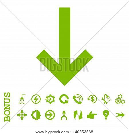 Down Arrow vector icon. Image style is a flat iconic symbol, eco green color, white background.