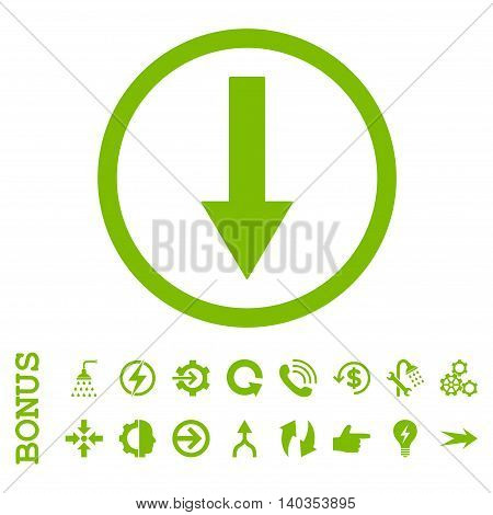 Down Rounded Arrow vector icon. Image style is a flat iconic symbol, eco green color, white background.
