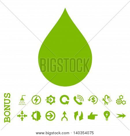 Drop vector icon. Image style is a flat iconic symbol, eco green color, white background.