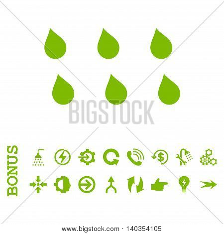 Drops vector icon. Image style is a flat iconic symbol, eco green color, white background.