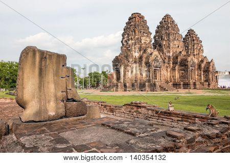 Phra Prang Sam Yot, The City Of Monkey In Lopburi ,thailand.