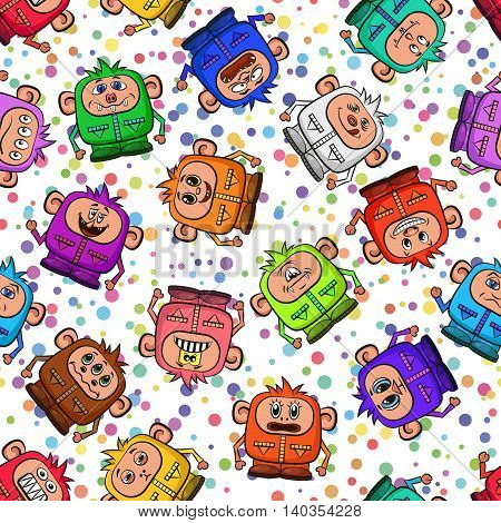 Seamless Background for Your Design with Cartoon Monsters in Overalls with Different Faces and Emotions, Colorful Tile Pattern with Cute Funny Characters. Vector