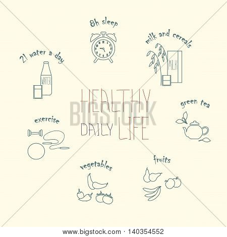 Healthy daily life modern line hand drawn icons, vector illustration
