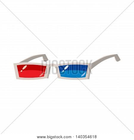 3D glasses icon in cartoon style isolated on white background. Effect symbol