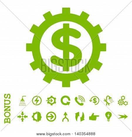 Financial Industry vector icon. Image style is a flat iconic symbol, eco green color, white background.