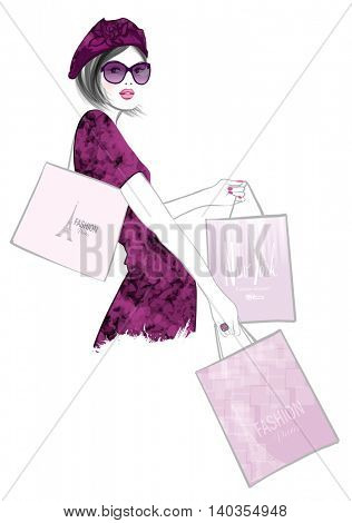 Pretty Woman shopping  - vector illustration