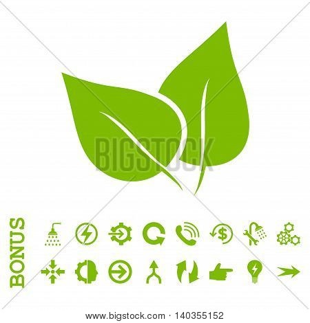 Flora Plant vector icon. Image style is a flat pictogram symbol, eco green color, white background.