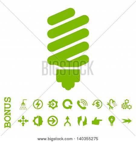 Fluorescent Bulb vector icon. Image style is a flat pictogram symbol, eco green color, white background.