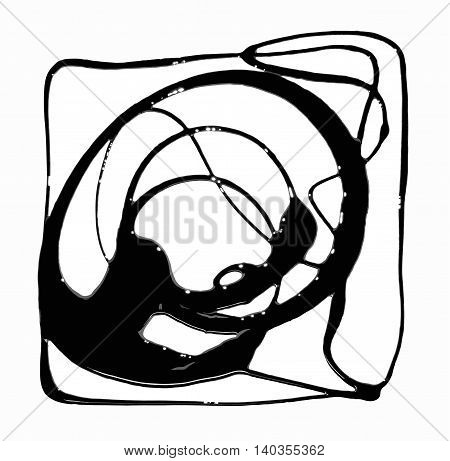 Abstract linear drip of black thick paint on white background.