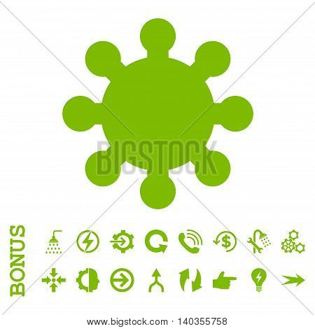 Gear vector icon. Image style is a flat iconic symbol, eco green color, white background.