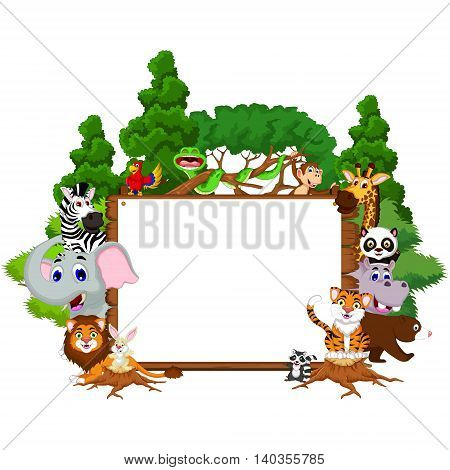 cute animal cartoon collection with blank board and tropical forest background