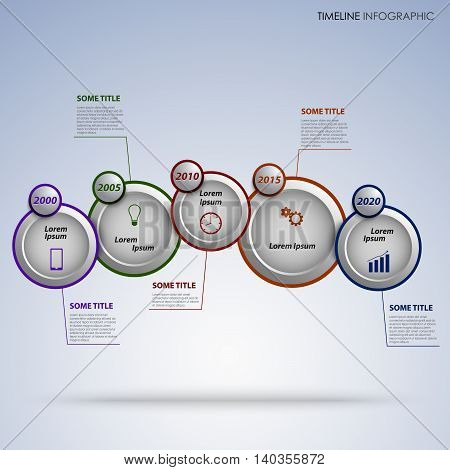 Time line info graphic with round design pointers template vector eps 10