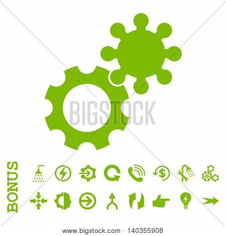 Gears vector icon. Image style is a flat pictogram symbol, eco green color, white background.