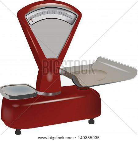 Old Red Antique scale with dishes for quantifying