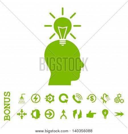 Genius Bulb vector icon. Image style is a flat iconic symbol, eco green color, white background.