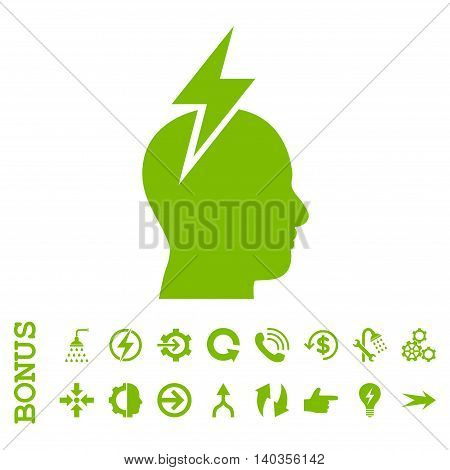 Headache vector icon. Image style is a flat iconic symbol, eco green color, white background.