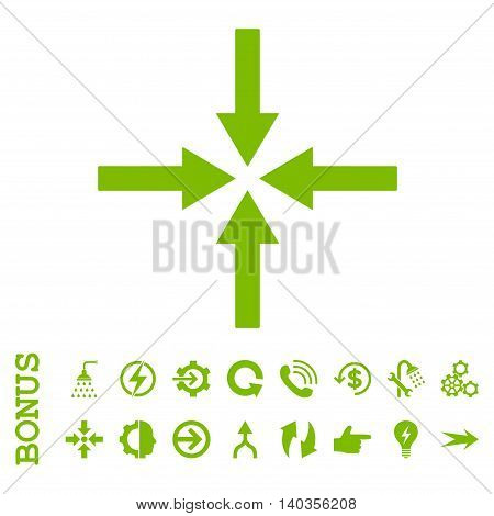 Impact Arrows vector icon. Image style is a flat pictogram symbol, eco green color, white background.