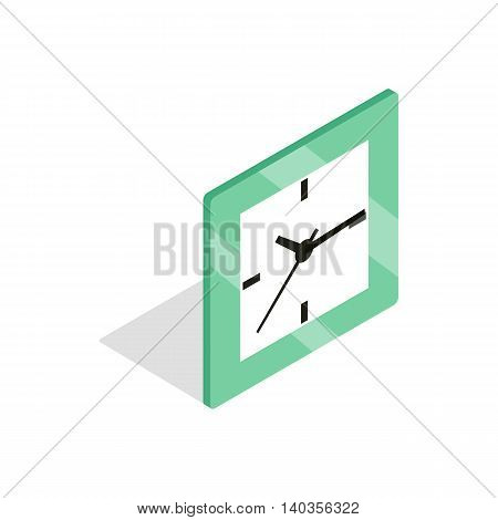 Square clock icon in isometric 3d style isolated on white background