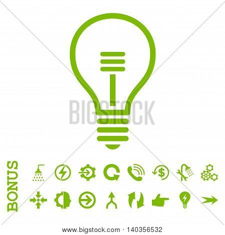 Lamp Bulb vector icon. Image style is a flat pictogram symbol, eco green color, white background.