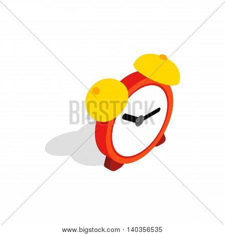 Alarm clock icon in isometric 3d style isolated on white background