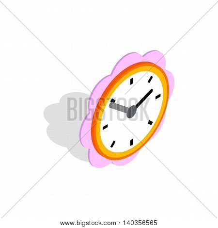 Daisy clock icon in isometric 3d style isolated on white background